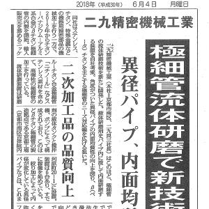 日刊産業新聞(2018年6月4日・6月6日)に記事が掲載されました