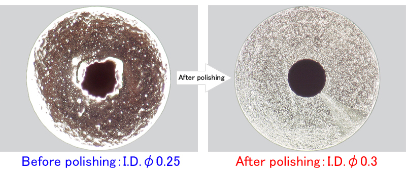 Cross sections before/after bore polishing of ready-made small diameter tubes