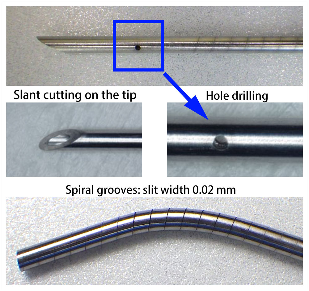 Slant cutting on the tip, a hole drilling, and spiral grooves.