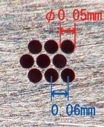 小径穴加工 外径φ0.05 ピッチ0.06 肉厚 二九精密機械工業